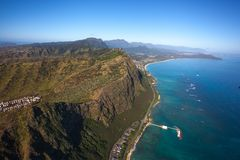Waimanalo Beach and coastline on the island of Oahu, Hawaii. This is an aerial view of beautiful Waimanalo Beach and coastline on the island of Oahu Hawaii stock images