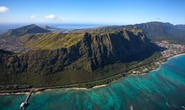 Waimanalo Beach and coastline on the island of Oahu, Hawaii. This is an aerial view of beautiful Waimanalo Beach and coastline with Koko Head and Diamond Head stock photography