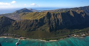 Waimanalo Beach and coastline on the island of Oahu, Hawaii. This is an aerial view of beautiful Waimanalo Beach and coastline with Koko Head and Diamond Head royalty free stock photo