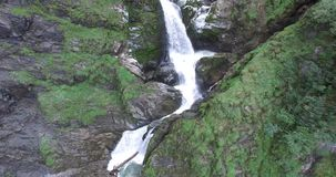 Aerial view, Beautiful Waterfall in the Alps, near rauris. Beautiful Waterfall in the Alps, fresh Clear Water in Austria stock video footage