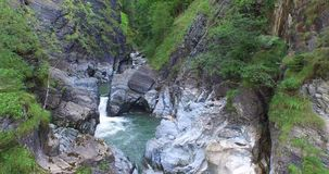 Aerial view, Beautiful Waterfall in the Alps, near rauris stock footage