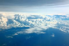 Aerial view beautiful white clouds in blue sky. Nice background Royalty Free Stock Photo