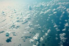 Aerial view beautiful white clouds in blue sky. Nice background Stock Photo