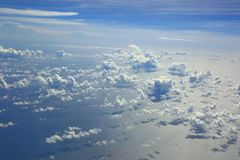 Aerial view beautiful white clouds in blue sky. Nice background Stock Photos