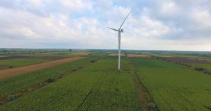 Aerial View. Beautiful windmill turbines , wind energy turbines . Aerial drone shot. 4K. 30fps stock video