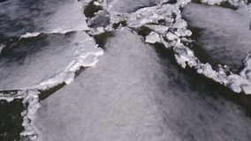 Aerial view on Beautiful winter landscape in the river, the river was put in ice. Beautiful winter landscape in the river, the river was put in ice,aerial view stock video