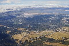 Aerial view of the Bedwell Bayfront Park, wetland and cityscape. Of San Francisco Royalty Free Stock Image