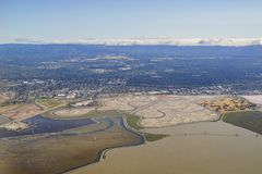Aerial view of the Bedwell Bayfront Park, wetland and cityscape. Of San Francisco Royalty Free Stock Photos