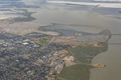 Aerial view of the Bedwell Bayfront Park, wetland and cityscape. Of San Francisco Royalty Free Stock Images