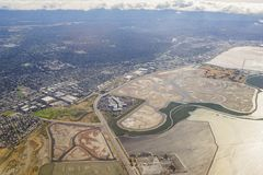 Aerial view of the Bedwell Bayfront Park, wetland and cityscape. Of San Francisco Royalty Free Stock Photography