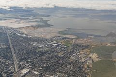 Aerial view of the Bedwell Bayfront Park, wetland and cityscape. Of San Francisco Stock Photos