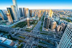 Aerial view of Beijing. High-rise buildings and viaducts in the city`s financial district, Beijing, China stock images