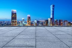Aerial view of Beijing. Marble platform and modern urban night view, Beijing, China stock photography
