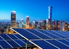 Aerial view of Beijing. Photovoltaic and modern urban night scenes, Beijing, China stock image