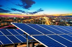 Aerial view of Beijing. Photovoltaic and modern urban night scenes, Beijing, China royalty free stock images