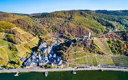Aerial view of Beilstein town with Metternich Castle at the Moselle River in Germany stock photography