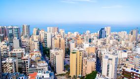 Aerial view of Beirut, Lebanon stock photography