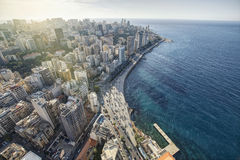 Aerial View of Beirut Lebanon, City of Beirut, Beirut city scape Royalty Free Stock Images