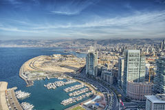 Aerial View of Beirut Lebanon, City of Beirut, Beirut city scape Stock Photo