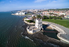 Aerial view of Belem Tower in Lisbon, Portugal Royalty Free Stock Image
