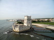Aerial view of Belem tower, in Lisbon, Portugal Royalty Free Stock Photos