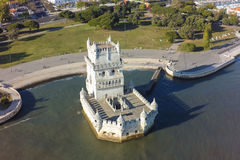 Aerial view of Belem tower - Torre de Belem  in Lisbon, Portugal Stock Image