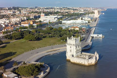 Aerial view of Belem tower - Torre de Belem  in Lisbon, Portugal Stock Image