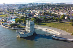 Aerial view of Belem tower - Torre de Belem  in Lisbon, Portugal Royalty Free Stock Photo