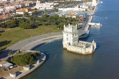 Aerial view of Belem tower - Torre de Belem  in Lisbon, Portugal Royalty Free Stock Photos