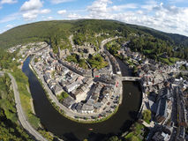 Aerial view on belgian city La Roche-en-Ardenne. With river Ourthe, church and ruins of medieval castle Royalty Free Stock Photo