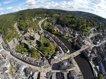Aerial view on belgian city La Roche-en-Ardenne. With ruins of medieval castle, river and church Stock Photo