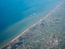 Aerial view of Belgium coast. Aerial view of of Veurno Nieuport Koksijde Ostend cities on the Belgian coast Royalty Free Stock Photography
