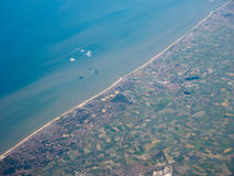 Aerial view of Belgium coast. Aerial view of of Veurno Nieuport Koksijde Ostend cities on the Belgian coast Stock Images