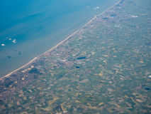 Aerial view of Belgium coast. Aerial view of of Veurno Nieuport Koksijde Ostend cities on the Belgian coast Stock Photo