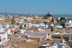 Aerial view from Bell Tower of Mezquita in Cordoba. Andalusia, Spain royalty free stock photography