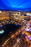 Aerial view of Bellagio and Caesars Palace hotel and casino with Stock Photo