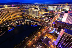 Aerial view of Bellagio and Caesars Palace hotel and casino with Royalty Free Stock Images