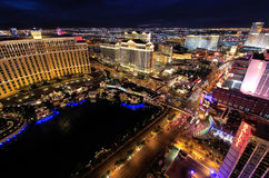 Aerial view of Bellagio and Caesars Palace hotel and casino with Royalty Free Stock Image