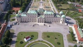 Aerial view of Belvedere palace . Vein. Vienna. Wien. Austria. stock footage