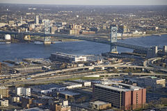 Aerial view of Ben Franklin bridge. Crossing the Delaware River from Philadelphia, Pennsylvania side into Camden New Jersey Royalty Free Stock Images