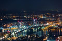 Aerial view of Ben Franklin Bridge by night stock image