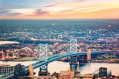 Aerial view of Ben Franklin bridge royalty free stock photo