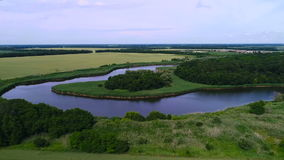 Aerial view. Bend of the river bends around the magnificent wood, in the middle of boundless fields stock video footage