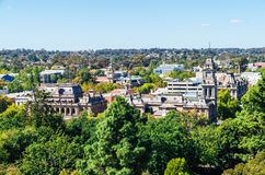 Aerial view of the Bendigo law court buildings in Australia. Aerial view of the historic sandstone law courts buildings in central Bendigo, Australia Royalty Free Stock Images