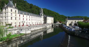 Aerial view of Benedictine Abbey of Brantome and river, France. Aerial view of Benedictine Abbey of Brantome and river stock video