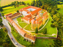 Aerial view of Benedictine monastery in Kladruby. Aerial view of Benedictine monastery in Kladruby founded in 1115. Was renovated, construction was terminated Royalty Free Stock Photography