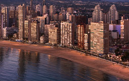 Aerial view of a Benidorm city coastline at sunset. Spain Stock Photo