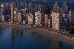 Aerial view of a Benidorm city coastline at sunset. Spain Royalty Free Stock Photos