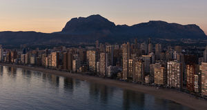Aerial view of a Benidorm city coastline at sunset. Spain Stock Photography