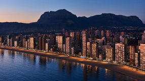 Aerial view of a Benidorm city coastline at sunset. Spain Royalty Free Stock Photography